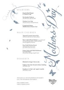 bully mothers day menu 2015