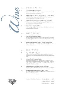 The Bully Inn Wine List
