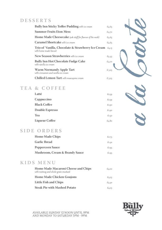 The Bully Inn Desserts Tea and Coffee Menu
